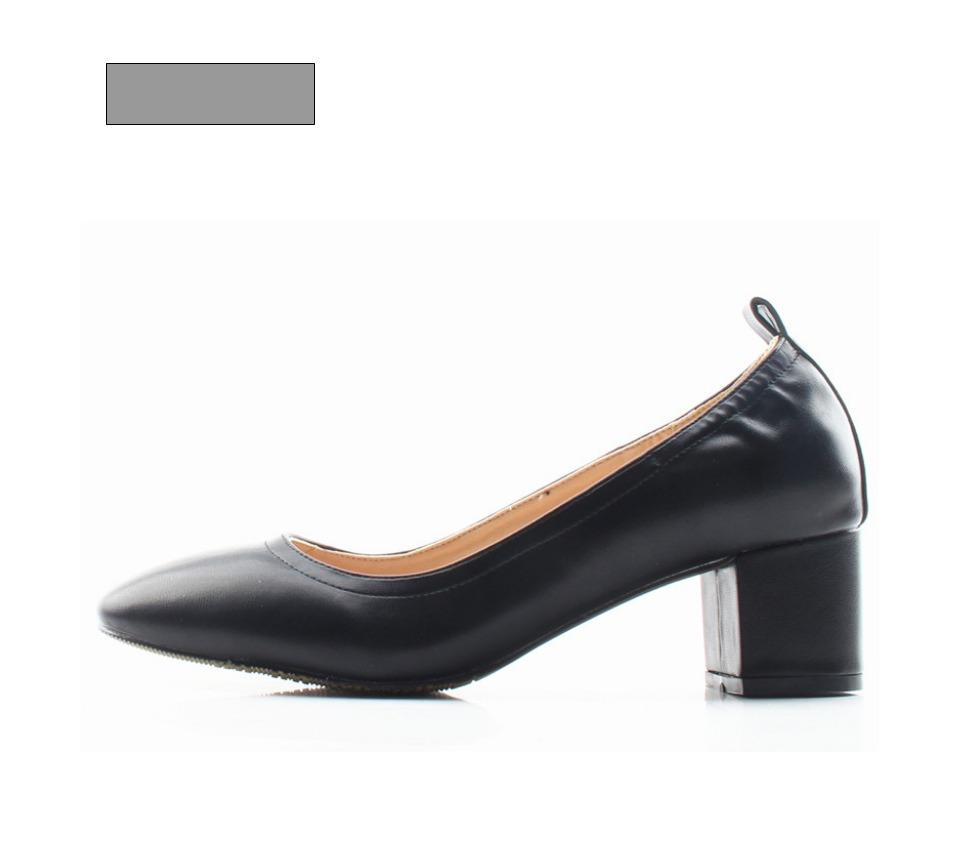 Shoes Women Genuine Leather Fashion Office and Career Rounded Toe 2-inch Block Heel Fashion Office Lady Pumps Size 34-41, K-307 45