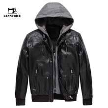 KENNTRICE Leather Jacket Male Motorcycle Jacket Polar Fleece HOOD Detachable PU Faux Leather Jacket Men Biker Jacket(China)