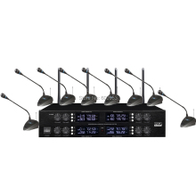 MICWL Wireless Radio Digital 8 Desktop Conference Meeting Room Microphone System - Two years of Guarantee high end uhf 8x50 channel goose neck desk wireless conference microphones system for meeting room