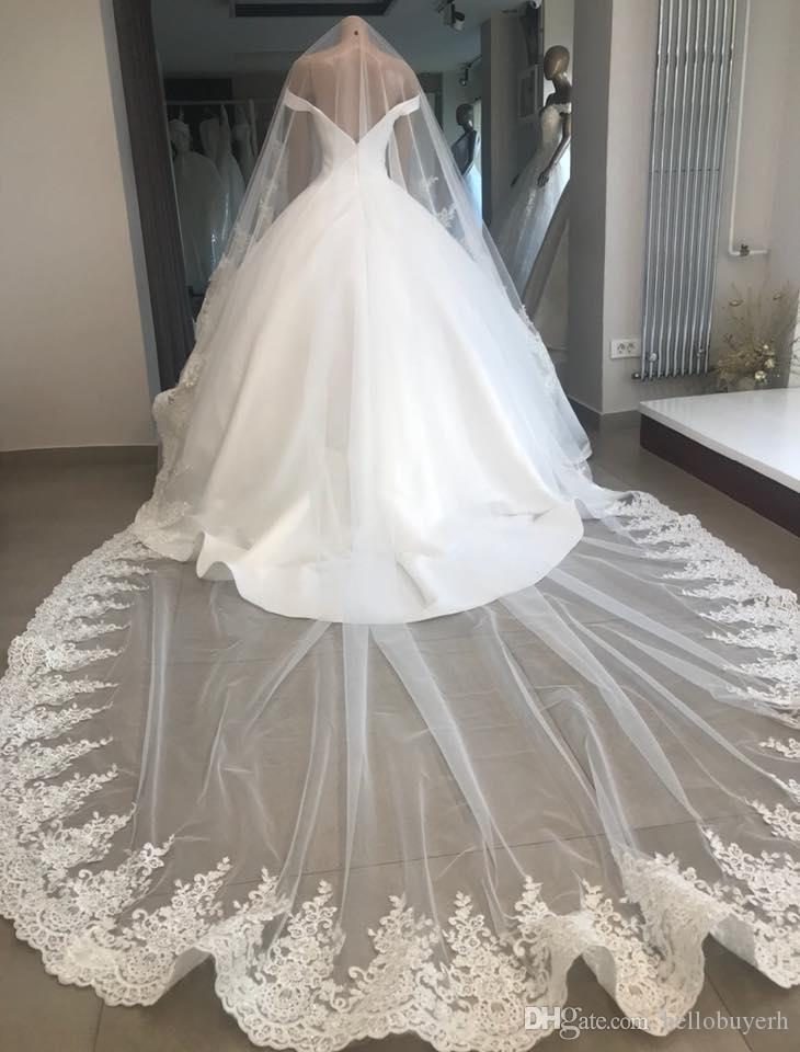 2018 Real Photo Bridal Veils One Layer White 3m Wedding Veils Lace Trim Cathedral Ivory Long Bridal Veil For Ball Gown