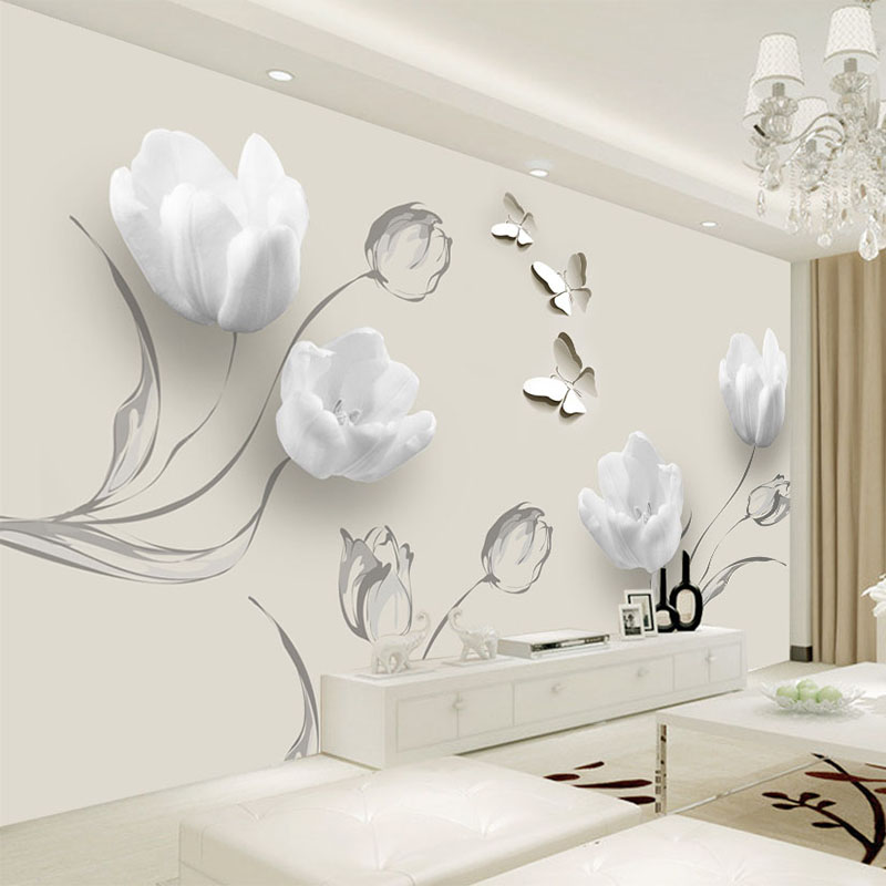 Flowers Wall Wallpapers Design For Your Bedrooms Decorating: Custom Mural Wallpaper Modern 3D Stereo Tulip Butterfly