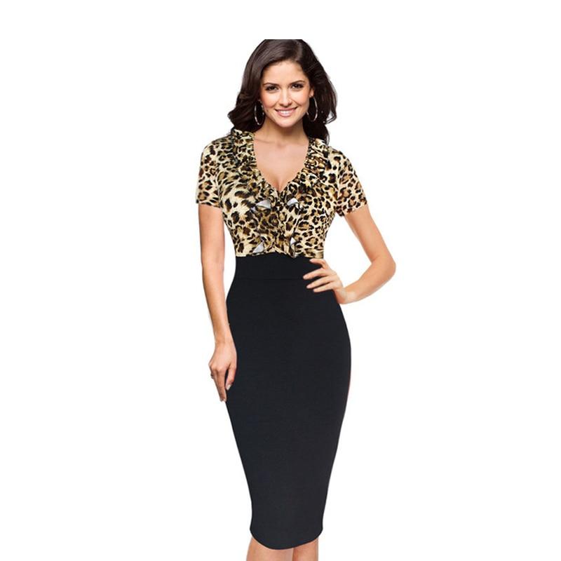 2018 Hot Designer Womem Vestido de verano de manga corta Mid Calf Leopard Sexy vestidos de vaina 4XL Tallas grandes Club Club con cuello en V profundo vestidos