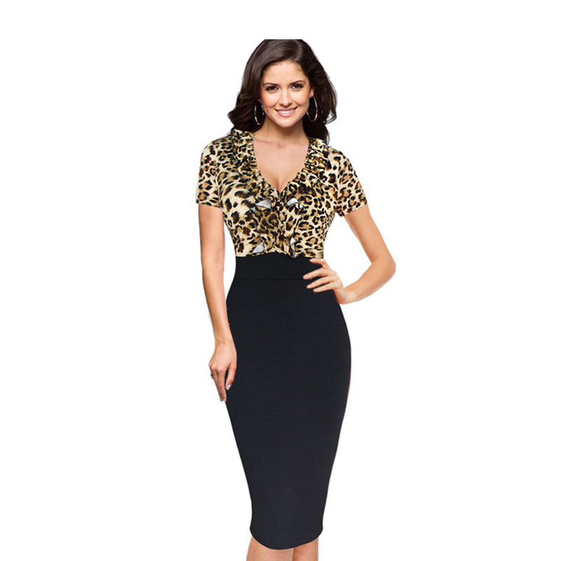 2018 Hot Designer Womem Summer Dress Short Sleeve Mid Calf Leopard Sexy Sheath Dresses 4XL Plus Size Club Deep V Neck Dresses