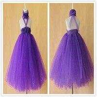 Elegancki fioletowy dziewczynka tutu taniec wear sukienka piękne maluch dzieci stałe purpurowy musujące kwiat sukienka urodziny suknia ślubna