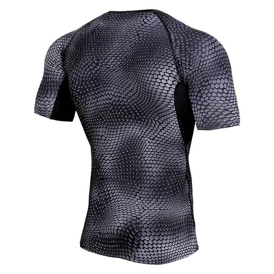 ボディービルタイトな男性の Tシャツのフィットネス速乾男の Tシャツ蛇行プリント Tシャツトップスアンダーシャツジムワークアウト Tシャツ男性