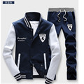 High Qality gaps Men's Sports Suit Pattern Zipper Coat + Pants 2 Pieces M-4XL Baseball Jackets Sport Tracksuit Running Set Male