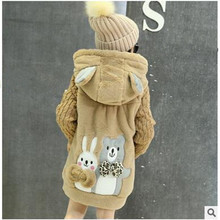 Free Shipping 2016 Winter new girl cute cartoon hooded long coat girl warm wool coat thickening