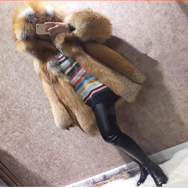 TOPFUR Luxury Real Fur Coat For Women Thick Warm Winter Jacket Full Pelt Natural Silver Fox with Hood