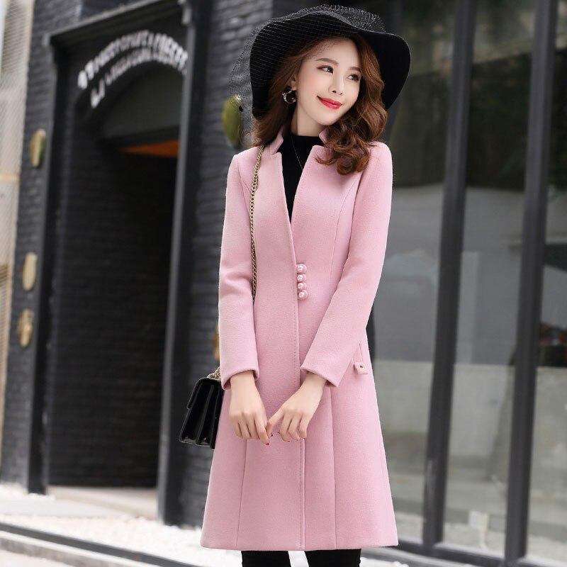 linen Automne Laine 2018 Ash Long De A72 red Unique Mode Femme Hiver Femmes Chaud Couleur caramel Vêtements Moyen pink Solide Black Manteau Colour breasted Single wx0nHf