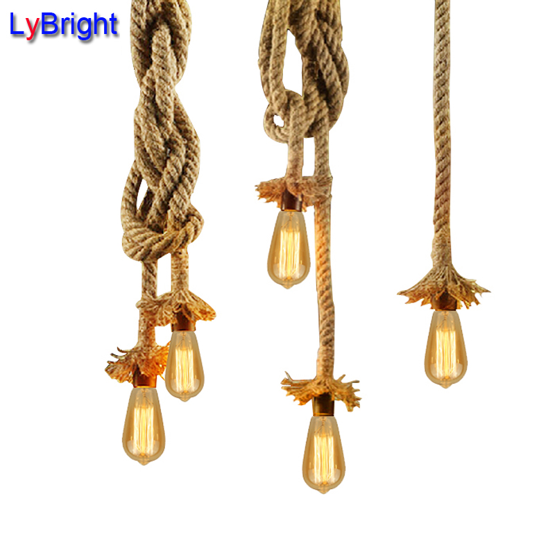 Vintage Rope Pendant Light Lamp AC 90 260V Loft Creative
