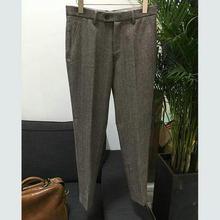 Men Retro Pants Wool Trousers Men Business Grey Herringbone Slim Fit Dress Pants Tweed