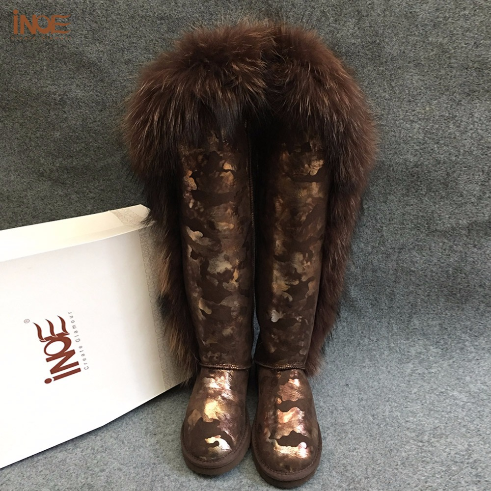 INOE fashion natural fox fur snakeskin pattern real sheep fur lined over the knee winter snow boots for women long winter shoes