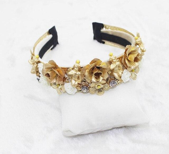 Vintage Baroque ange blanc en céramique fleurs cheveux cerceau métal couronne diadèmes de mariage cheveux accessoires bijoux pour femmes fête cadeau