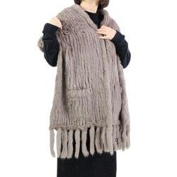 Harppihop * Luxe vrouwen Echte Echte Gebreide rabbit Fur Sjaals met Kwastjes Lady Pashmina Wraps Herfst Winter Vrouwen Bont sjaals