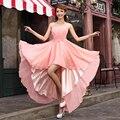 Vestido de noche 2016 flores Crystal sin mangas trasero largo delantero corto gasa novia de la boda vestido de fiesta
