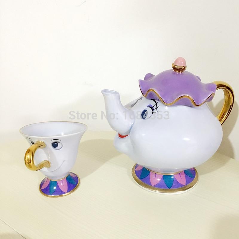 New style Hot Sale Cartoon Beauty And The Beast Mug Mrs Potts Chip Tea Pot Cup 2PCS One Set Lovely Xmas Gift