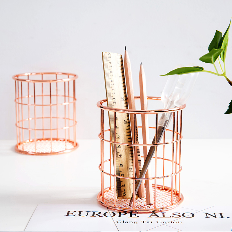 Creative Trend Rose Gold Pen Holder Metal Pencil Holders Desk Organizer Stationery Accessories Decor Office And School Supplies