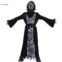 Unisex Children Halloween Hell Devil Demon Costume Girls Boys Azrael Death Skeleton Cosplay Carnivl Purim Masquerade Party dress