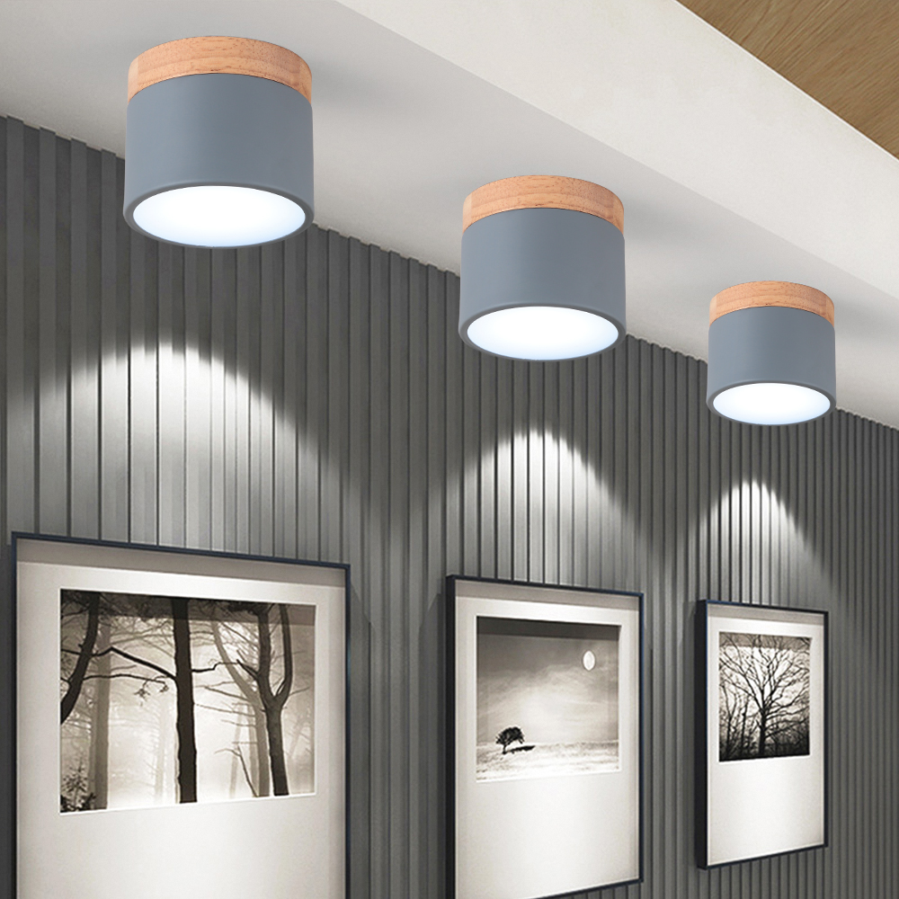 Decke Lampe Nordic Runde durchmesser 9cm korridor Gang kleine Zylindrische lampe Echt holz + Eisen Macaron Kreative Led-strahler