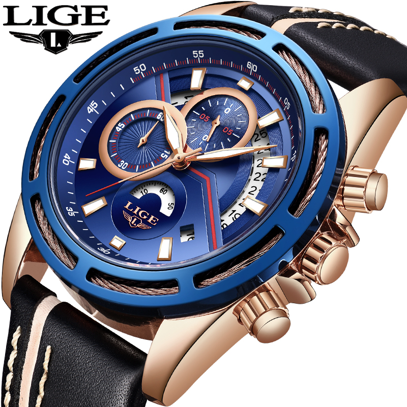 Relogio Masculino LIGE Watch Men Fashion Sports Quartz Clock Mens Watches Top Brand Luxury Full Steel Business Waterproof Watch 2018 amuda gold digital watch relogio masculino waterproof led watches for men chrono full steel sports alarm quartz clock saat