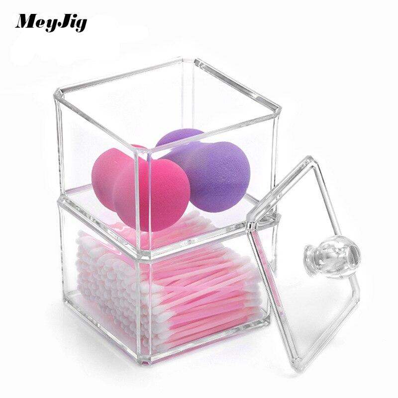 Meyjig Transparent Multilayer Cosmetics Storage Box Desktop Storage Creative Dustproof Cotton Swab Box Organizer Makeup Box