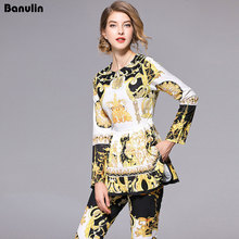 Fashion Runway Designer Suit Set Women's Long Sleeve Retro Pattern Print Pleated Hem Split Pullover Top Pants Set 2 Piece Sets