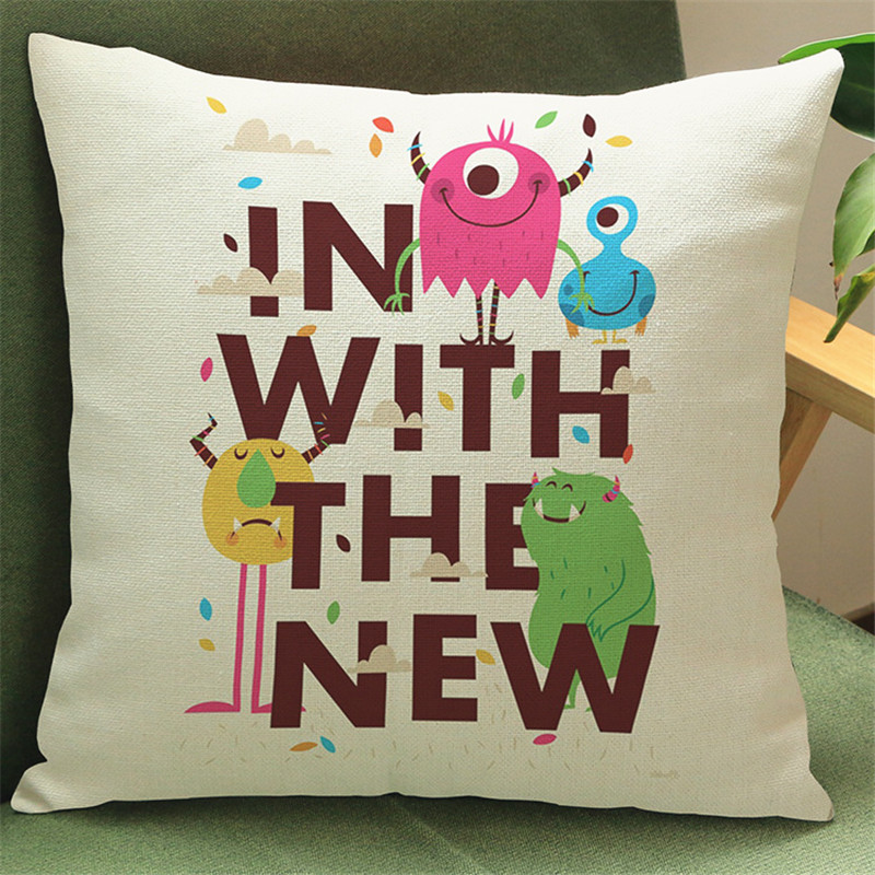 Cartoon monster funny colorful pillow cases Cushion Cover house Home Decoration Sofa chair seat room for children gifts