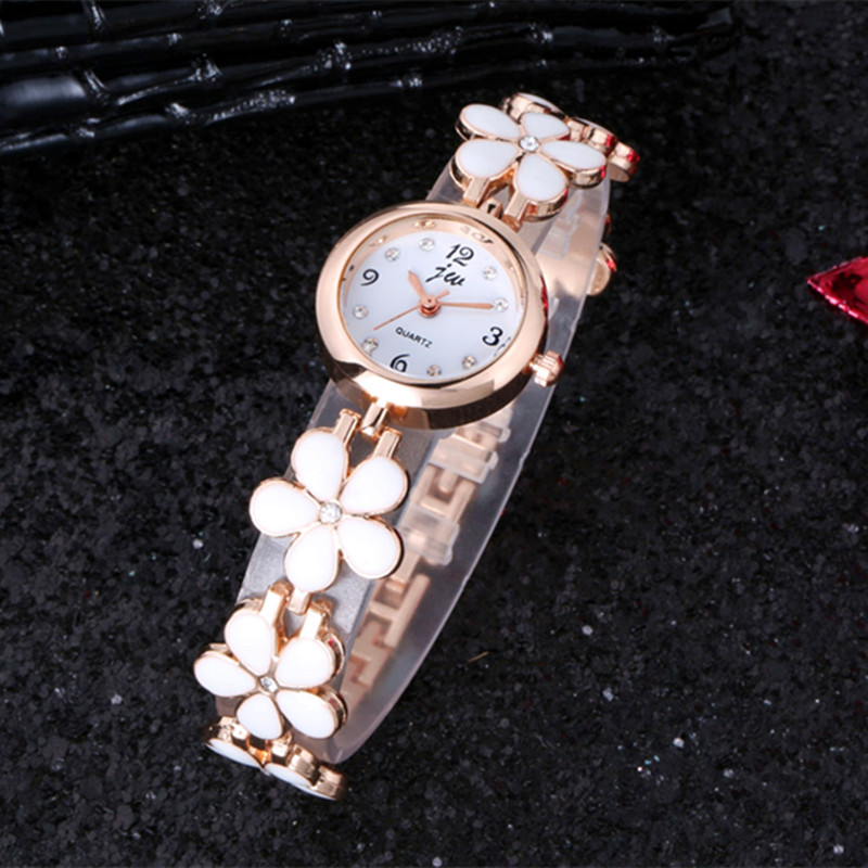 2017 New Fashion Flowers Watches Clock Women Luxury Brand JW Crystal Stainless Steel Wristwatches Ladies Dress Quartz Watch XFCS luxury brand gold watches women quartz dress watches fashion ladies stainless steel rhinestone crystal analog wristwatches ac026