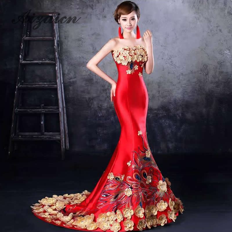 Red Mermaid Cheongsam Traditional Chinese Wedding Dress Women Dress Elegant Fishtail Evening Dress Flower Qipao Sexy