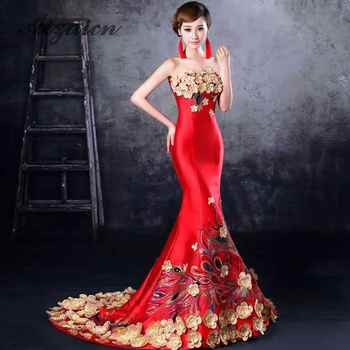 Red Mermaid Cheongsam Traditional Chinese Wedding Dress Women Dress Elegant Fishtail Evening Dress Flower Qipao Sexy Strapless - DISCOUNT ITEM  25% OFF All Category