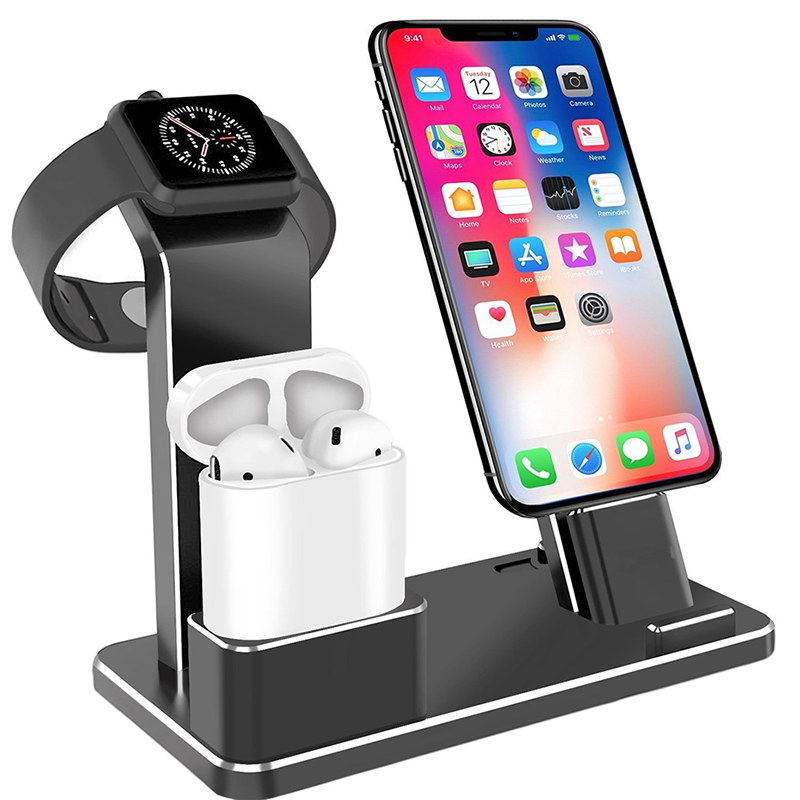 Металлическое Зарядное устройство Док-станция держатель для Iphone Airpods Apple Watch Алюминиевый сплав Подставка для Iphone X Кабельный органайзер держ...