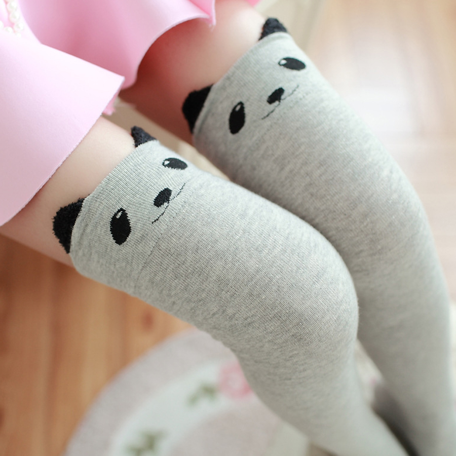 2016 New Women Lady Girls Favorite Cute 3D Cartoon Animal Cat Bear Face Thigh Stockings Funky Over Knee High Socks