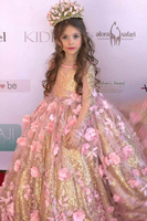 Gorgeous Gold Sequin And Pink 3D Flowers Girls Pageant Dress Kids Children Communion Party Formal Gowns 2019