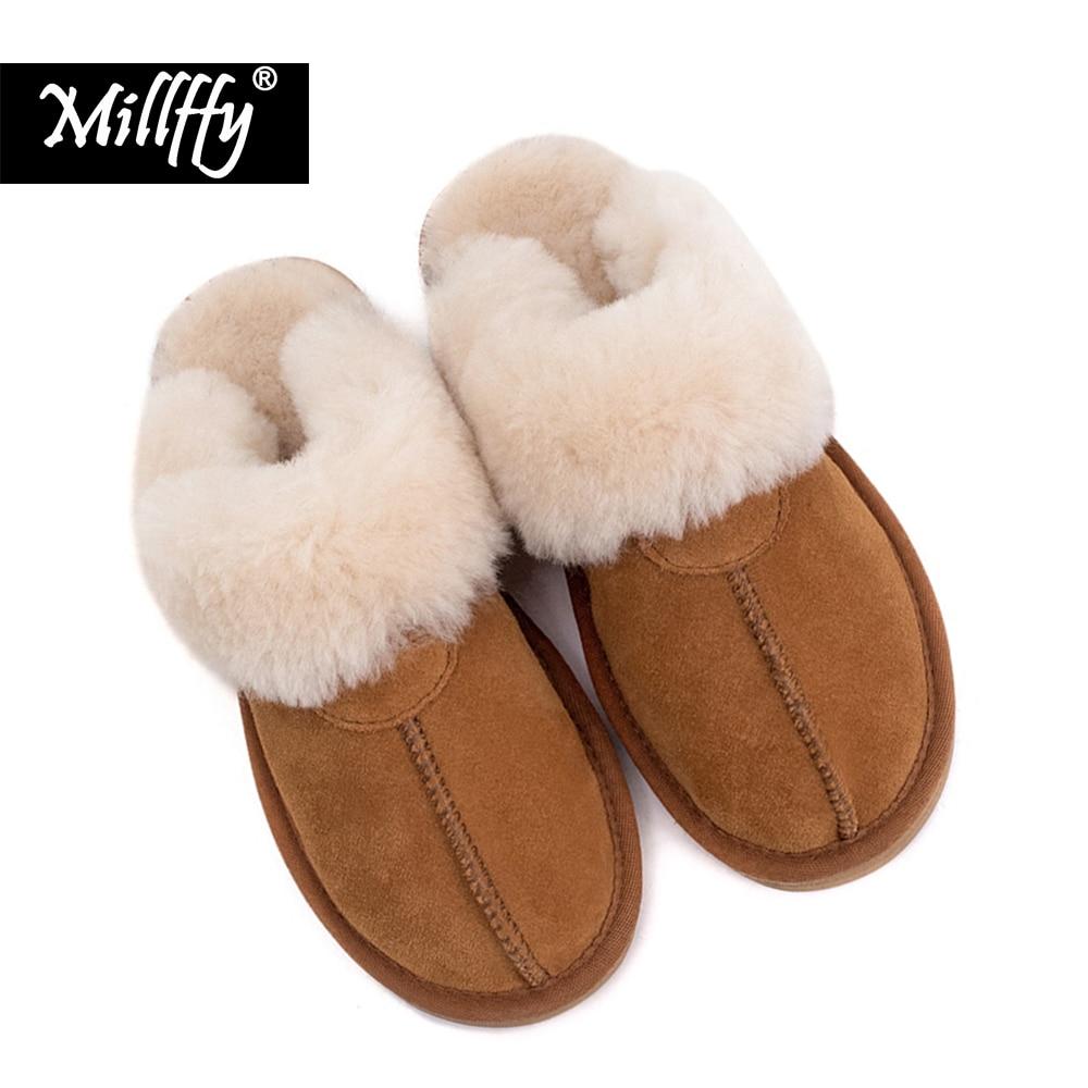 Millffy quality sheep fur one wool slippers women household shoes lovers Wool body sheepskin slippers man