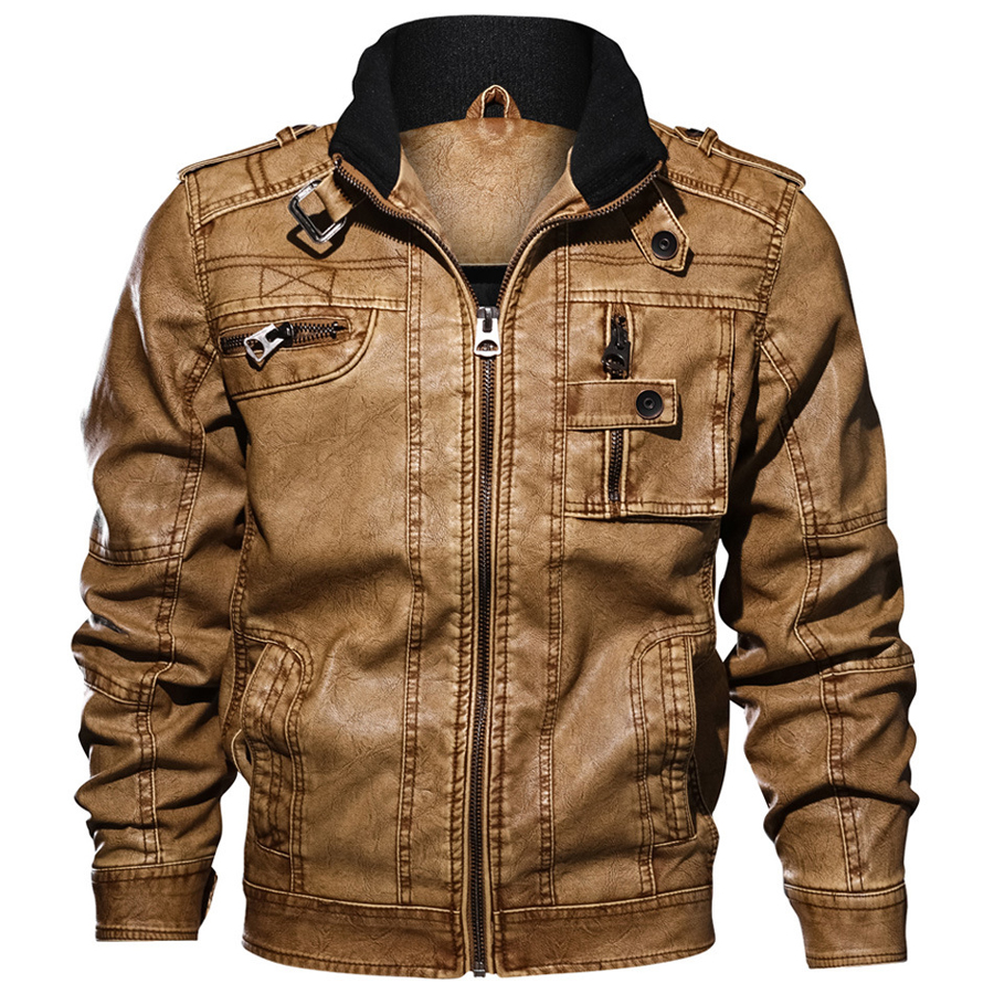Image 2 - 2019 Jackets Men Slim Fit Casual Outwear Bomber Jacket Winderbreaker PU Motorcycle Leather Jackets male new fur coat 6XL 7XL-in Faux Leather Coats from Men's Clothing