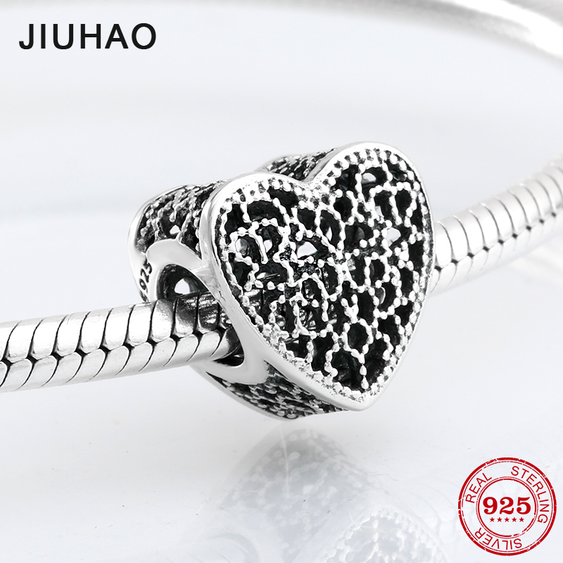 Hot 925 Sterling Silver charming Hollow out heart shape beads Fit Original Pandora Charm Bracelet Jewelry making charming glaze tube shape bracelet for men
