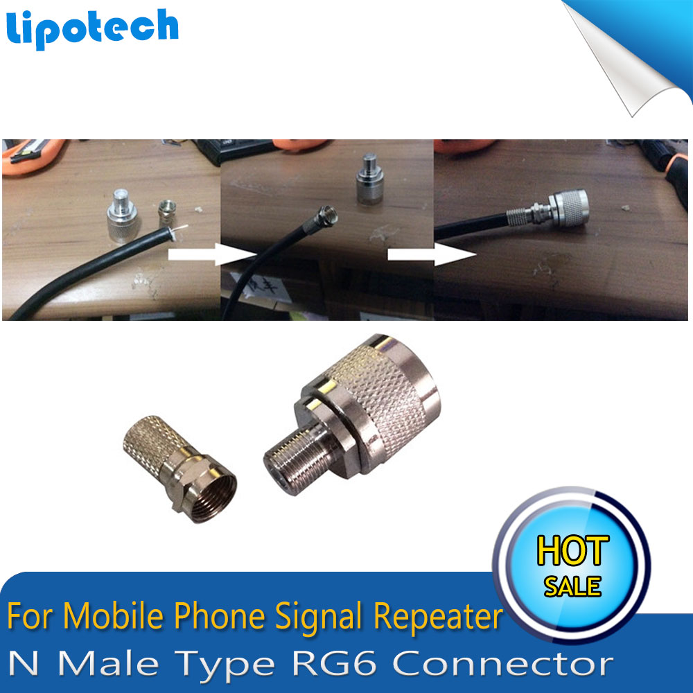 2pcs N Type Connector Male RG6 For Coaxial Cable For Mobile Phone Signal Booster Repeater Amplifier Straight Wholesale Fast Ship