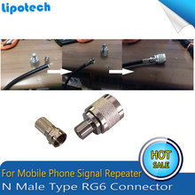 2pcs N Type Connector Male RG6 For Coaxial Cable For Mobile Phone Signal Booster Repeater Amplifier Straight Wholesale Fast Ship ship from es 2018 fast flue type 100