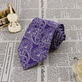 Men's Necktie Wedding Groom Party Tie width 3.4 inch Silk Purple Silver Paisley FS84