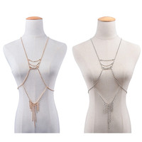 New Fashion Statement Jewelry Gold Silver Color Long Thin Sexy Body Necklace Chain Bra Summer Boho