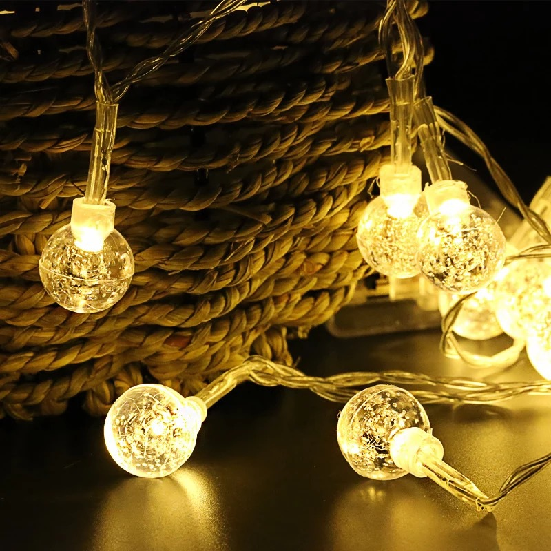 BTgeuse 5M Bubble Ball String Lamp LED Decorative Light Garland Fairy Lights For Christams Holiday Room Decoration