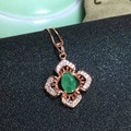 Fashion design emerald necklace pendant 5*7mm 0.6ct natural emerald pendant GIC certificate solid 925 silver emerald gem pendant