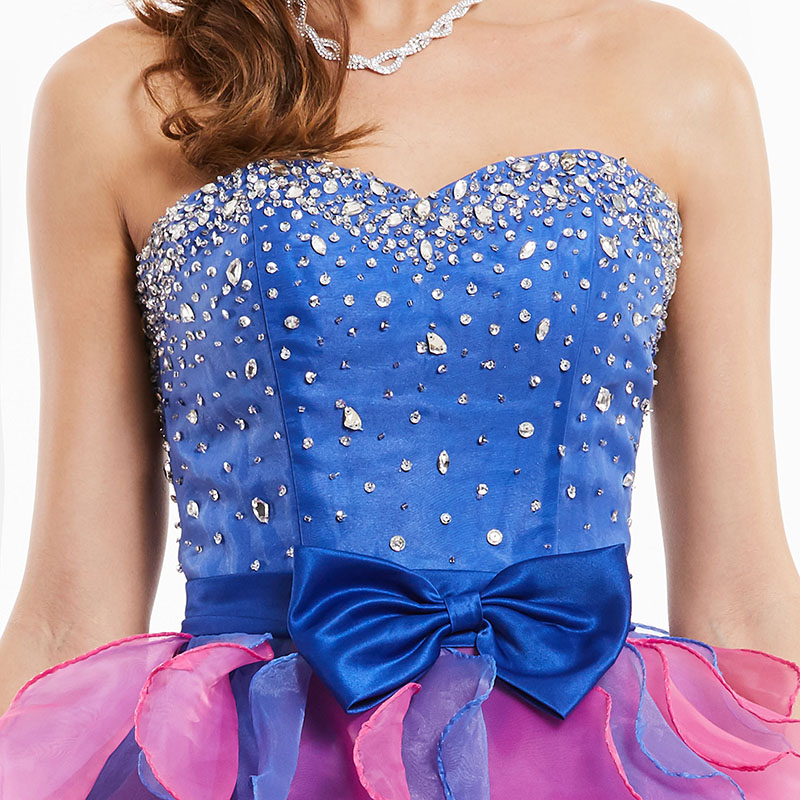 Tanpell straplez kokteyl elbise kraliyet mavi kolsuz boncuklu ilmek - Özel Günler Için Elbise - Fotoğraf 4