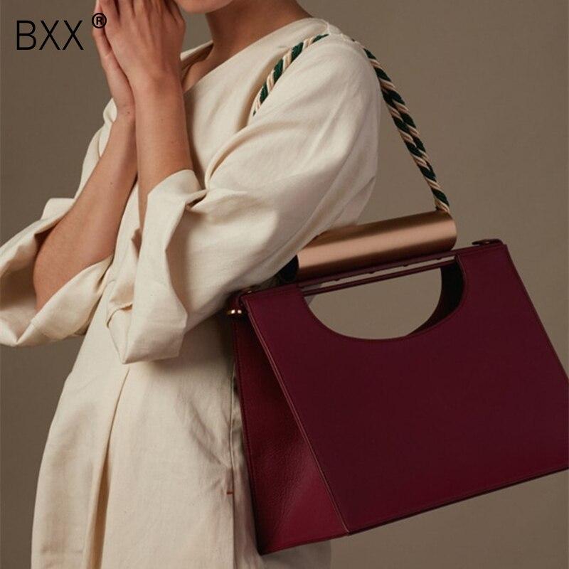 BXX 2019 Women Metal Handle Handbag Flap Fashion PU Leather Shoulder Bag Lady Crossbody Messenger