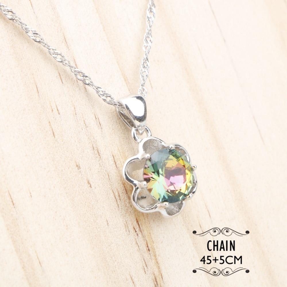 Magic Rainbow Stones 925 Silver Jewelry Sets Women Costume Earrings Necklace Pendant Rings Bracelets Set Jewelery Gift Box