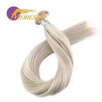 Moresoo Straight Fusion Keration Flat Tip 100% Real Human Hair Extensions 1.0g/s 50g/pack