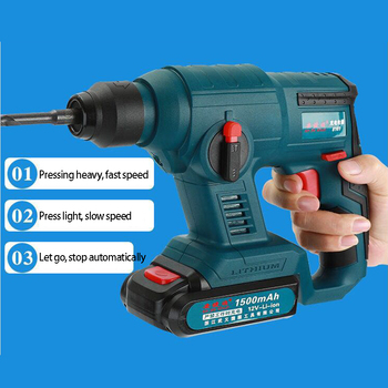 18V 2500mAh Electric Hammer Brushless Cordless Lithium-Ion Hammer Drill Electric Perforator impact hammer with LED light