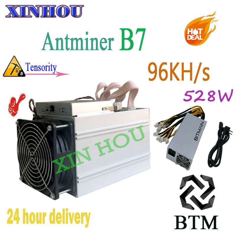 Nouveau BTM mineur Antminer B7 96KH/s Tensority 528 W avec BITMAIN 1600 W PSU Asic mieux que antminer S9 Whatsminer m3 Innosilicon A9