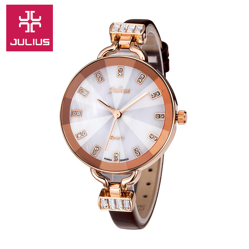 Top Julius Lady Women's Watch Elegant Big Shell Fine Fashion Hours Dress Bracelet Leather School Girl Birthday Gift Box real functions julius shell women s watch isa mov t hours clock fine fashion bracelet sport leather birthday girl gift box