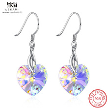 LEKANI Crystals From Swarovski Cat Pearl Drop Earrings 925 Women's Earrings Fashion Jewelry SSilver Heart-Shaped Rhinestone Sexy недорого